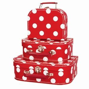 Kofferset Rood met witte stippen (set van 3)