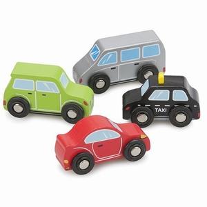 Auto set 4 stuks (Taxi, Rode en Groene auto, Zilveren bus)