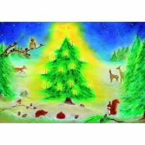 Oliepastelkaart Kerstfeest in het bos - per 10 stuks