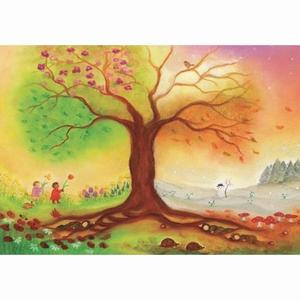 Oliepastelkaart Vierseizoenenboom - per 10 stuks