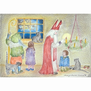 Ansichtkaart 1.55 Sint Nicolaas steekt de adventkaars aan