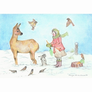 Ansichtkaart 1.51 Dieren voeren in de Winter - 10 stuks
