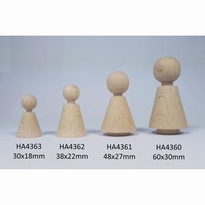 Kegelpoppetje - Kegelvorm 60x30 mm -  met voetje en nekje