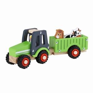 Tractor met aanhanger rubberen wielen; boer+koe+paard