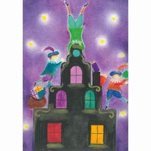 Oliepastelkaart Pieten op het dak per 10 stuks