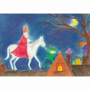 Oliepastelkaart Sinterklaas op het dak per 10 stuks