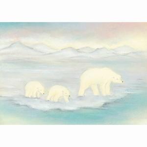 Oliepastelkaart Moeder ijsbeer met jongen - per 10 stuks