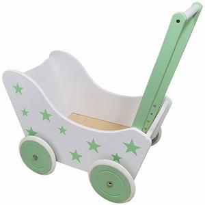 Poppenwagen met Sterretjes Wit/Groen, exclusief dekje