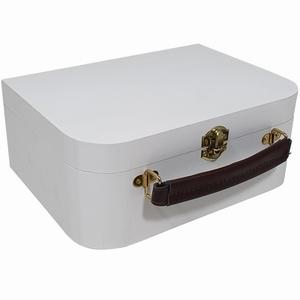 Kist / Koffertje met leren handvat wit (9985white)