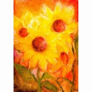 Oliepastelkaart Zonnebloemen per 10 stuks