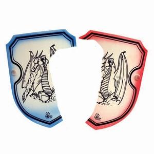Schild draak blauw of rood