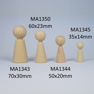 Kegelpoppetje - Taps 36x14 mm met nekje