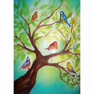 Oliepastelkaart Vogeltjes in boom per 10 stuks