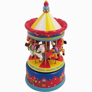 Muziekdoos - Carrousel - Groot - Rood/Geel