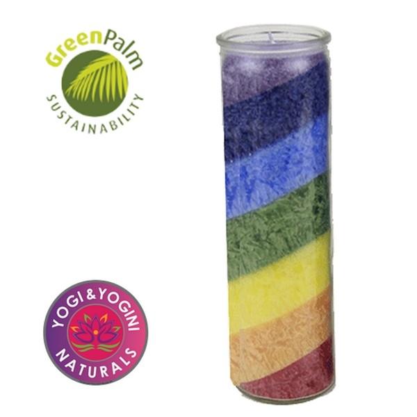 Kaars: Regenboog stearinekaars geurloos in glas