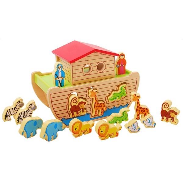 Ark van noach vormenfiguur inclusief 14 dieren en 2 figuren