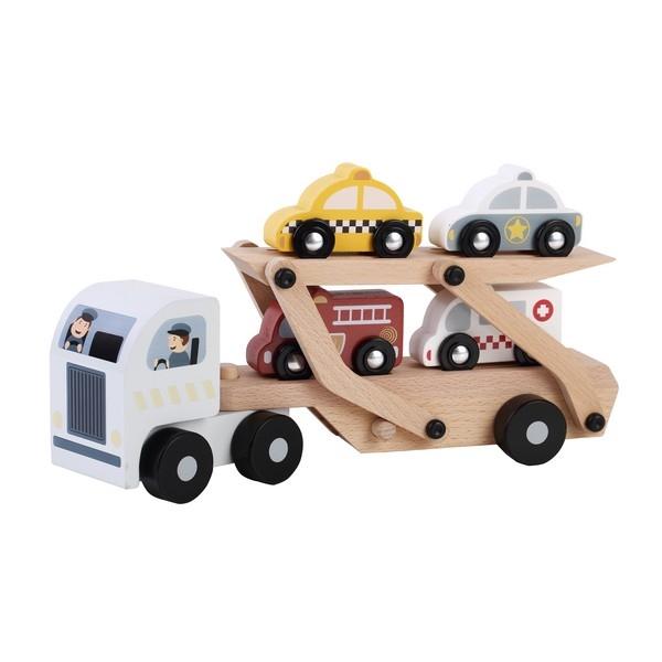 Autotransporter met 4 auto's; zilveren cabine, uitverkocht