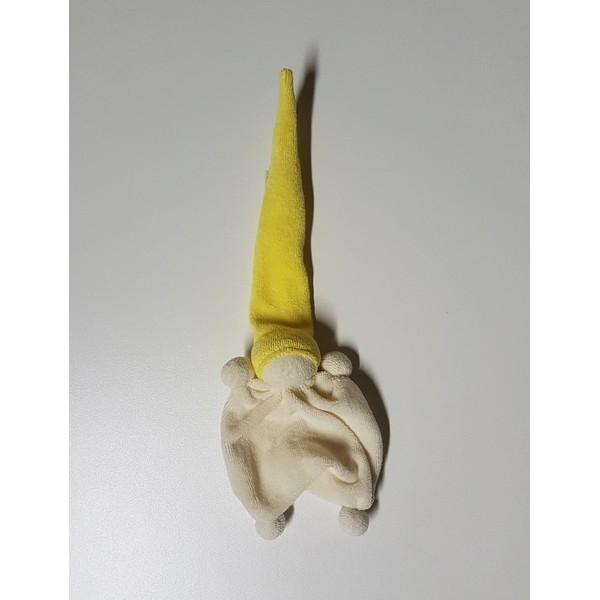 Badstof Duimpopje,, Ecru/gekleurde muts, Geel
