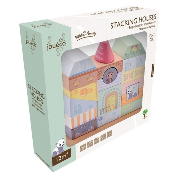 Bouwpuzzel huis pastel met dieren - Jouéco