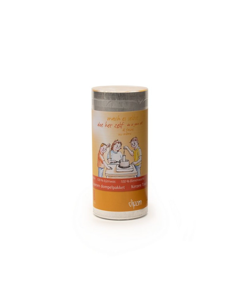 Dipam Bijenwas dompelpakket, 600 g bijenwas en lont in blik