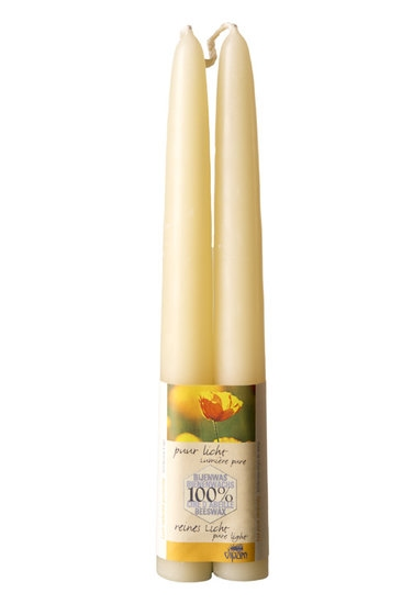 Dipam bijenwaskaars 2,2 x 20 cm 9h wit per 4 paar