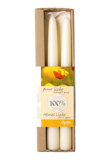 Dipam bijenwaskaars 2,2 x 25cm 12h WIT 2 in een doos x9