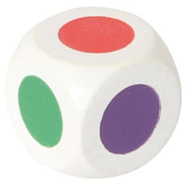 Dobbelsteen wit 20 mm gekleurd, 6 kleuren