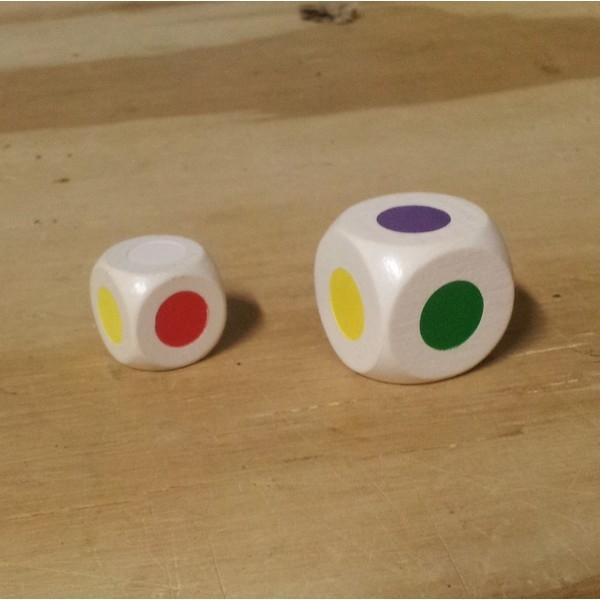 Dobbelsteen wit 25 mm gekleurd, 6 kleuren
