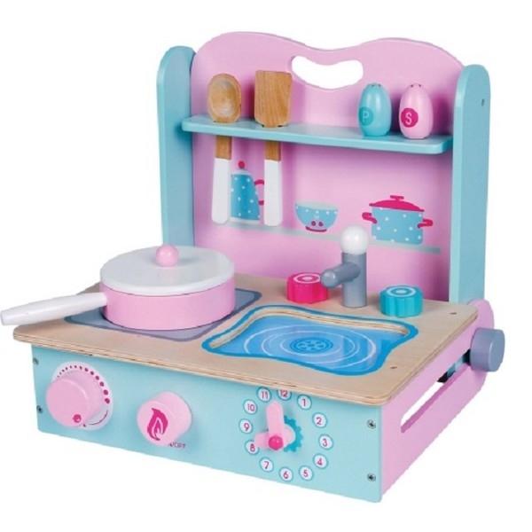 Fornuisje Roze/Blauw/Wit Opklapbaar - Lelin Toys