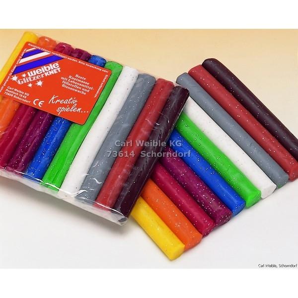 GLITTER Kneedwas Rol 10 kleuren totaal 150 gram