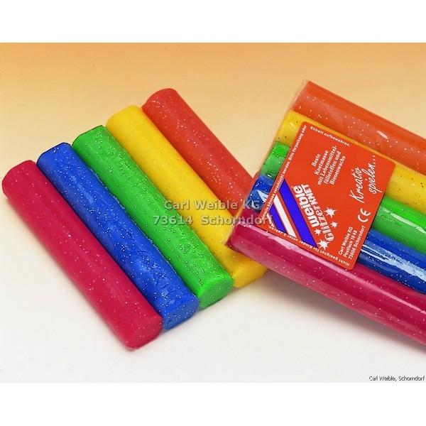 GLITTER Kneedwas Rol 5 kleuren totaal 200 gram