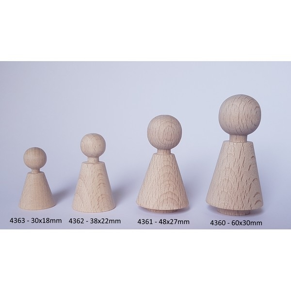 Kegelpoppetje - Kegelvorm 30x18 mm - met nekje