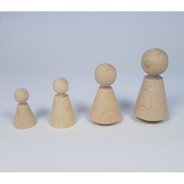 Kegelpoppetje - Kegelvorm 48x27 mm -  met voetje en nekje
