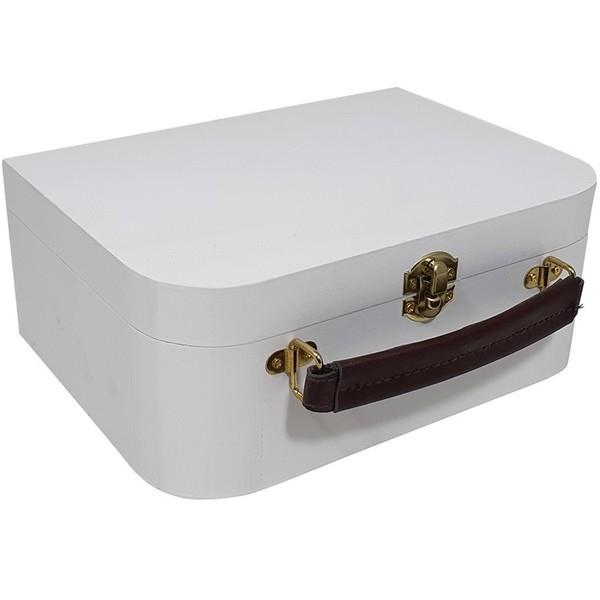 Kist / Koffertje met leren handvat wit