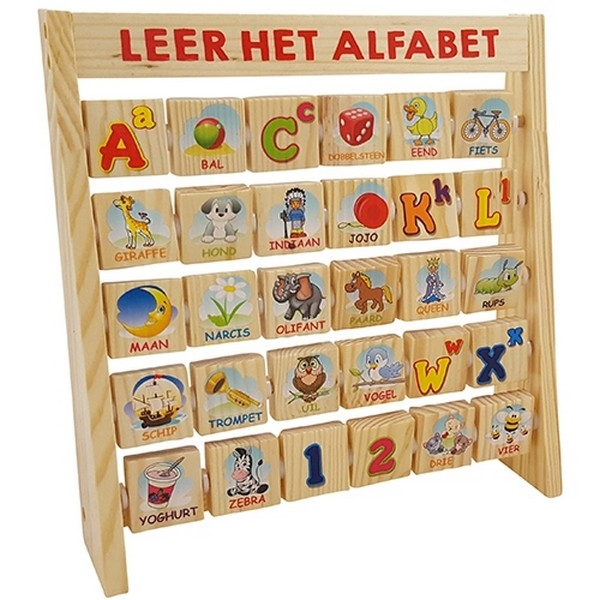 Leer het alfabet aan rek, dubbelzijdige blokjes