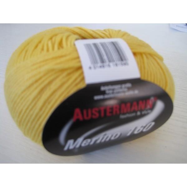 Merino-160 bol 50 gram/160 mtr 100% wol - kleur 207 Geel