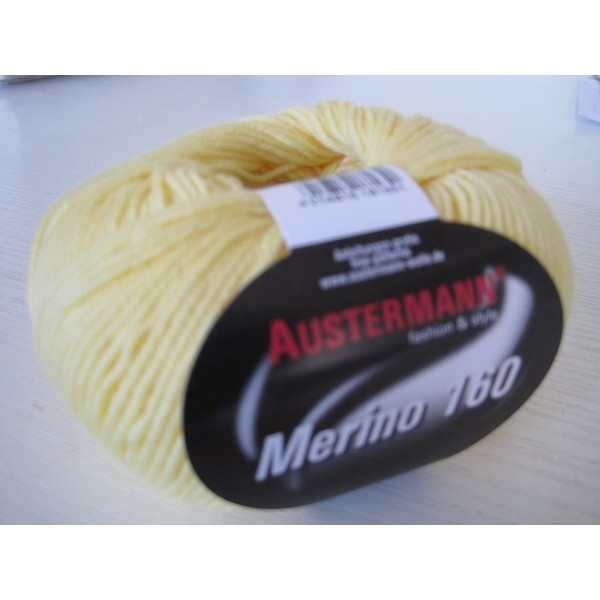 Merino-160 bol 50 gram/160 mtr 100% wol - kleur 213 L.Geel