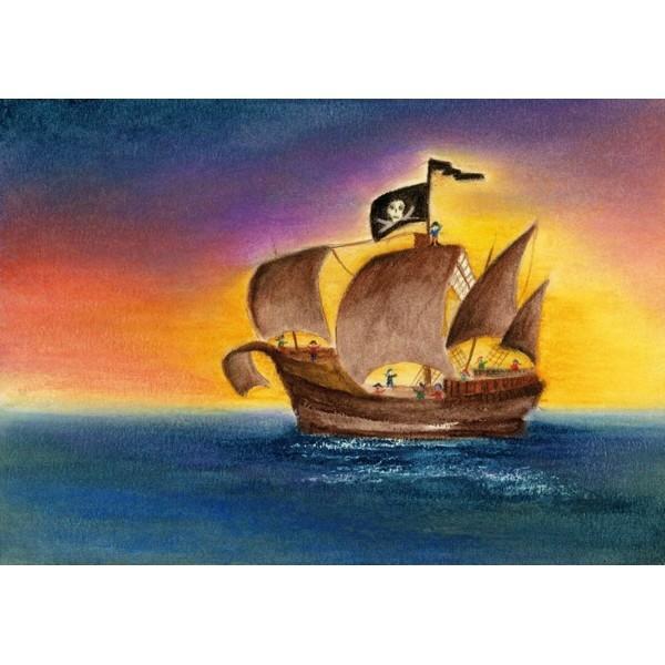 Oliepastelkaart Het Piratenschip - per 10 stuks