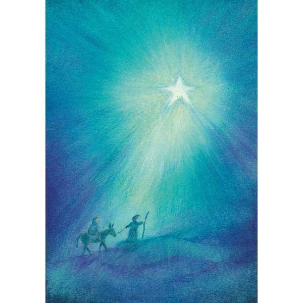 Oliepastelkaart Op weg naar Bethlehem
