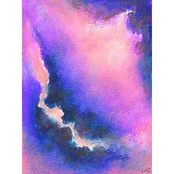 Oliepastelkaart. Abstract Paars - Lila (A1001) aanbieding !