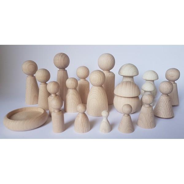 Paddenstoel hout - Smal 39 x 20 mm - beuken gebleekt
