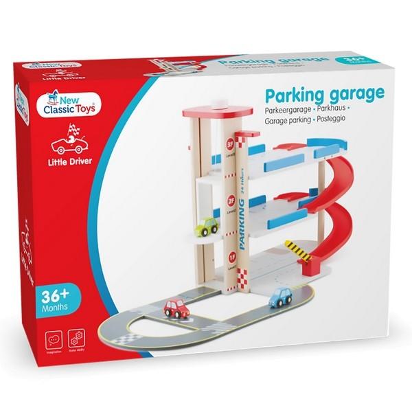 Parkeergarage met autobaan en 3 auto's