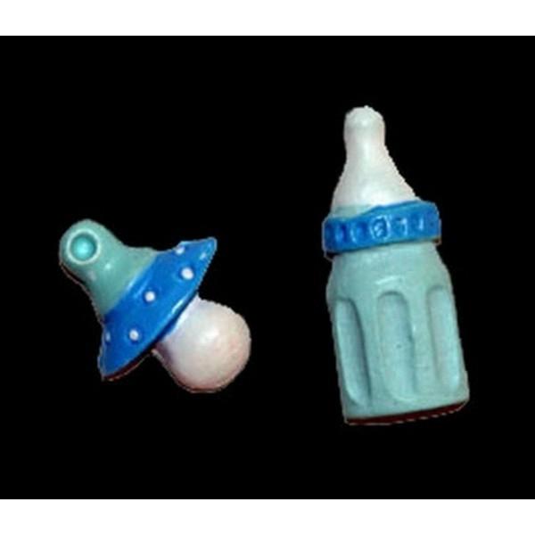 Plakker Babyfles en speen blauw 1,5cm 100 stuks =-25%