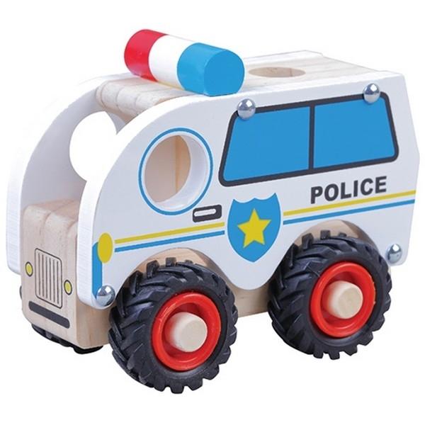 Politieauto met zwart rubberen wielen