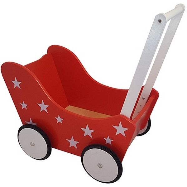 Poppenwagen met Sterretjes Rood, exclusief dekje