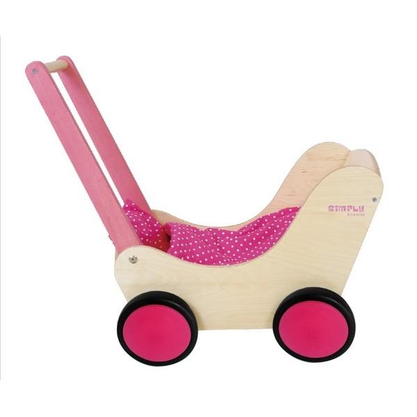 Poppenwagen roze incl. dekje