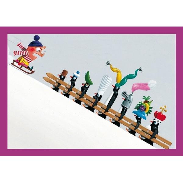Wenskaart met enveloppe Pinquins Skiers (21x)