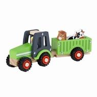 Tractor met aanhanger met rubberen wielen; incl boer koe ,p