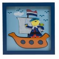 Wanddecoratie piraat met boot (26x26cm)